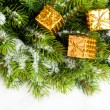 Stock Photo: Branch of Christmas tree with gift boxes
