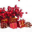 Gift boxes with european holly — Stockfoto