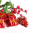 Gift boxes with pinecone and european holly — Stockfoto