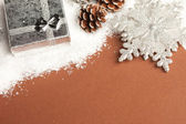 Christmas decoration gift box with snow — Stock Photo
