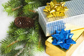Branch of Christmas tree with gift boxes — Stock fotografie