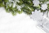 Větev stromu vánoční krabičky a hvězda — Stock fotografie