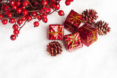 Gift boxes with european holly — ストック写真