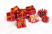 Gift boxes with pinecone — Stok fotoğraf
