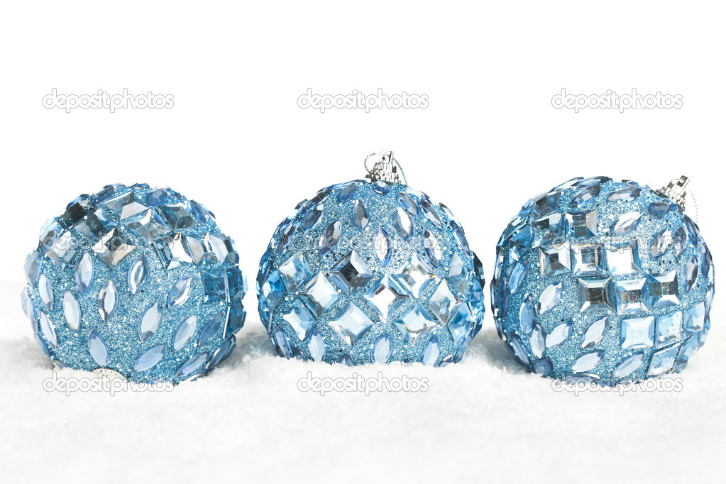 Christmas decoration balls with snow — Stock Photo #4574417