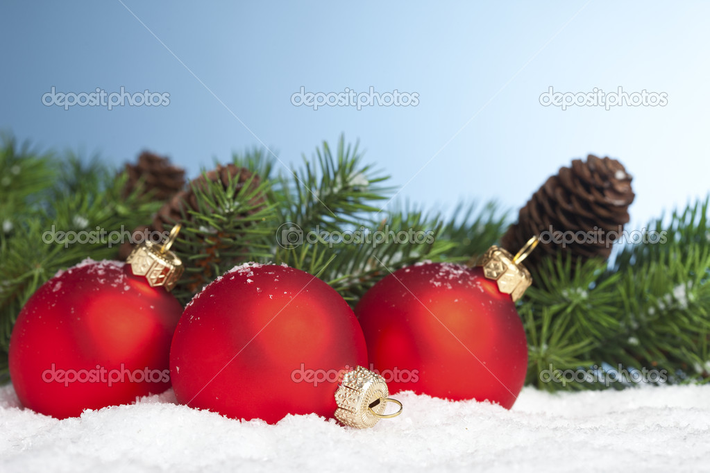 Branch of Christmas tree with festive ball — Stock Photo #4574452