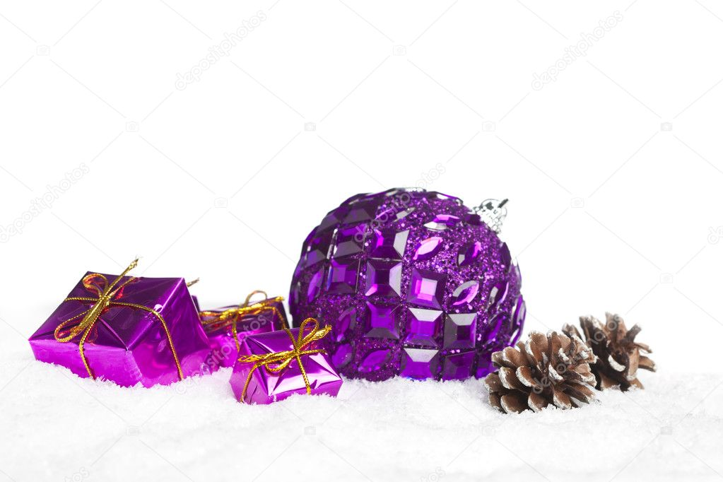 Gift boxes with pinecone and ball — Stock Photo #4574510