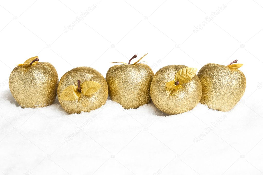 Christmas decoration apples with snow — Stock Photo #4574517