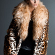 Beautiful fashionable woman in fur coat — Stock Photo