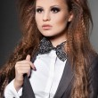 Elegant fashionable woman with bow-tie — Stock Photo #5104585