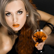 Beautiful woman with glass of cocktail — Stock Photo
