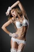 Sexy woman in white underwear — Stock Photo