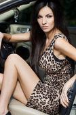Beautiful woman at the car — Stock Photo