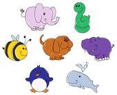 Animal doodles — Stock Vector