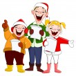 Stock Vector: Christmas carolers
