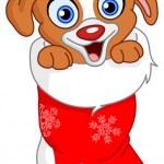 Christmas puppy — Stock Vector
