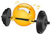 Weightlifter emoticon — Stock Vector