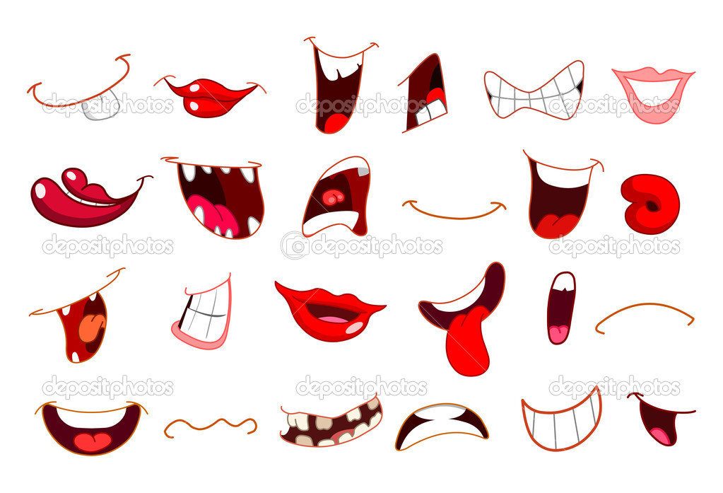 Cartoon mouth set — Stock Vector #4310340