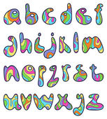 Psychedelic small letters — Stock Vector
