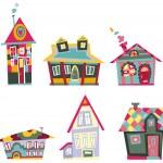 Decorative houses — Stock Vector