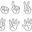Outlined counting fingers - Image vectorielle