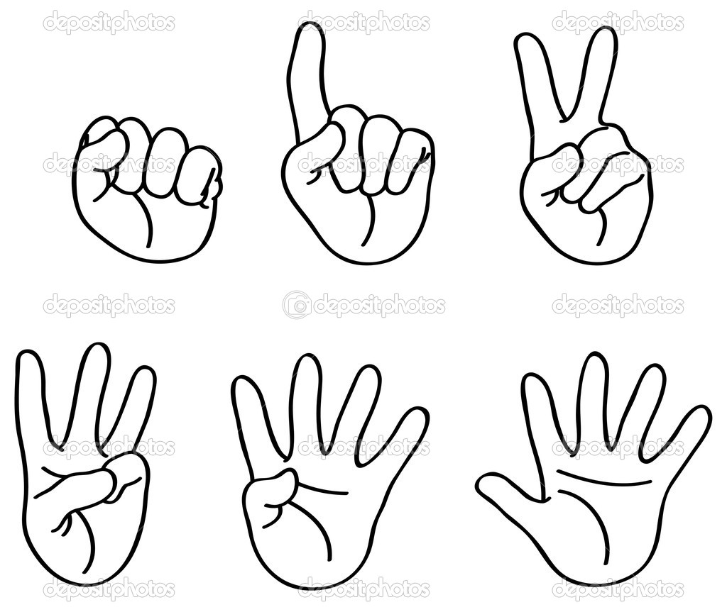 Outlined counting fingers — Stock Vector #4430872