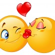 Vector design of a kissing emoticons - Vettoriali Stock 