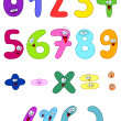 Vector cartoon set of happy numbers — Vettoriali Stock