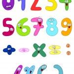 Vector cartoon set of happy numbers — Stock Vector
