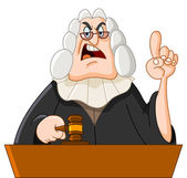 Vector cartoon illustration of a judge — Stock Vector