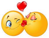 Conception de vecteur d'un baiser émoticônes — Vecteur