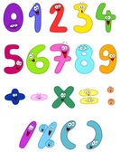 Vector cartoon set of happy numbers — Stok Vektör