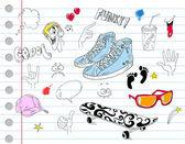 Cool notebook doodles — Stock Vector