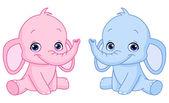 Baby elephants — Stock Vector