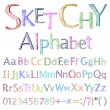 Sketchy alphabet - Stock Vector