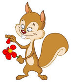 Squirrel with flower — Stock Vector