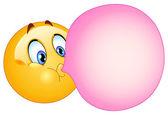 Bubble gum emoticon — Stock Vector