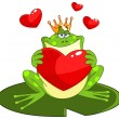 Frog prince with heart — Stock Vector
