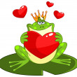 Frog prince with heart - Stock Vector