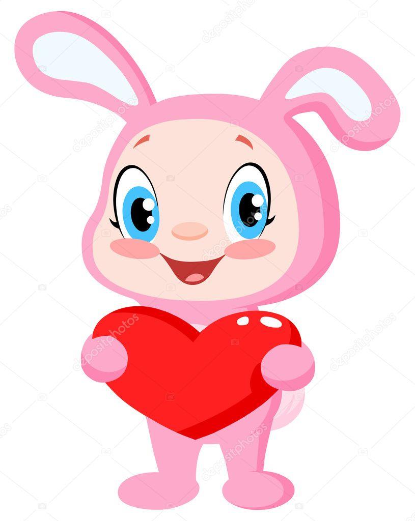 可爱的小宝贝兔子装着一颗心