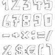 Royalty-Free Stock Vector Image: Hand drawn numbers and math signs