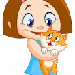 Stock Vector: Girl with kitten