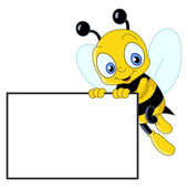 Cute bee with sign — Stock Vector