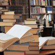Stock Photo: Open books in library