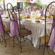 Foto Stock: Table set for wedding dinner