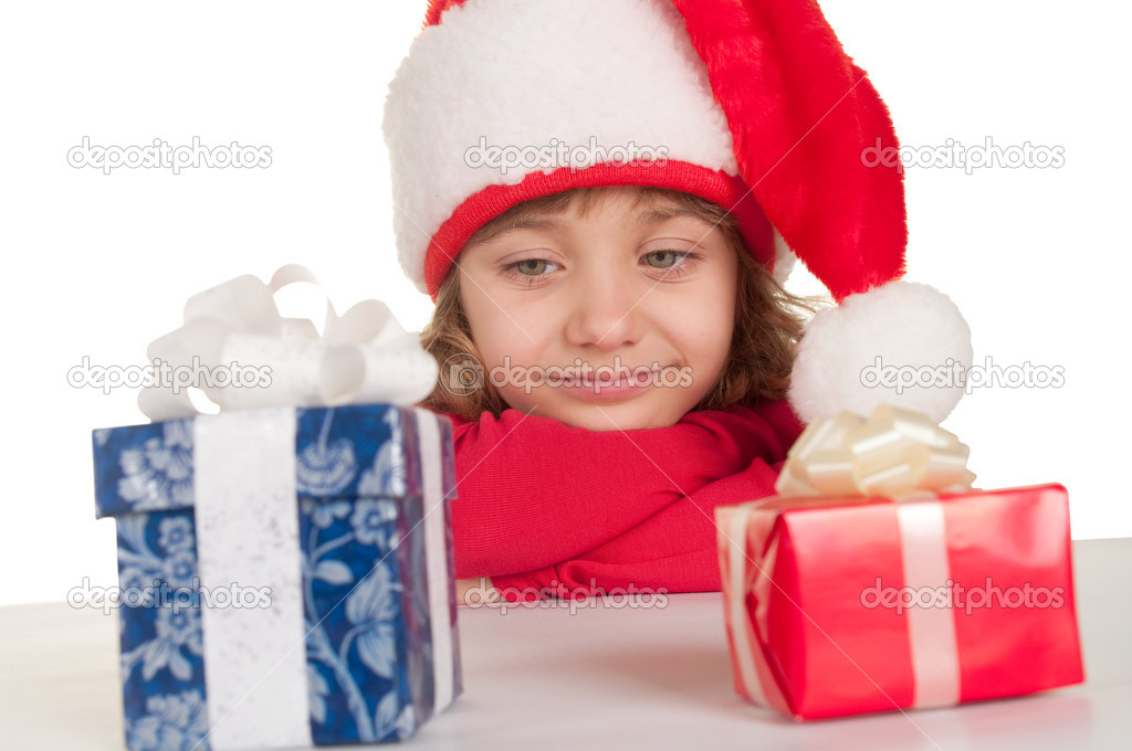 Little girl with Christmas presents  — Stock Photo #4401951