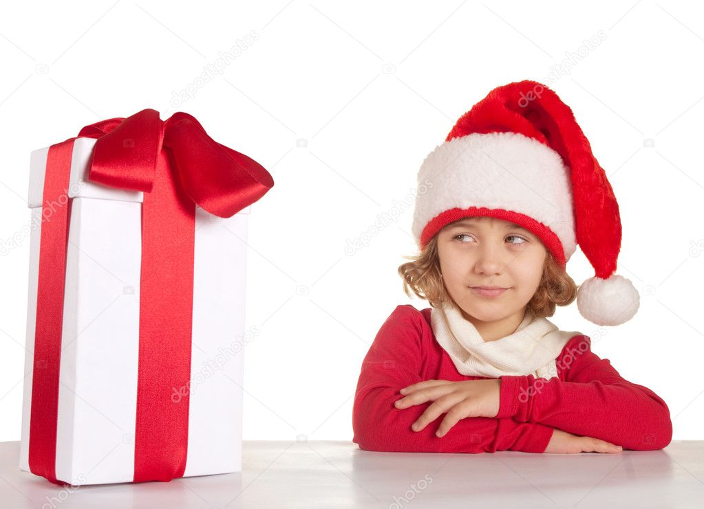 Little girl with Christmas presents   Stock Photo #4401963