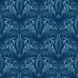 Stock Vector: Blue seamless wallpaper pattern