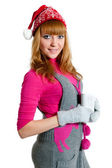 Christmas Girl with cap isolated on white — Stock Photo