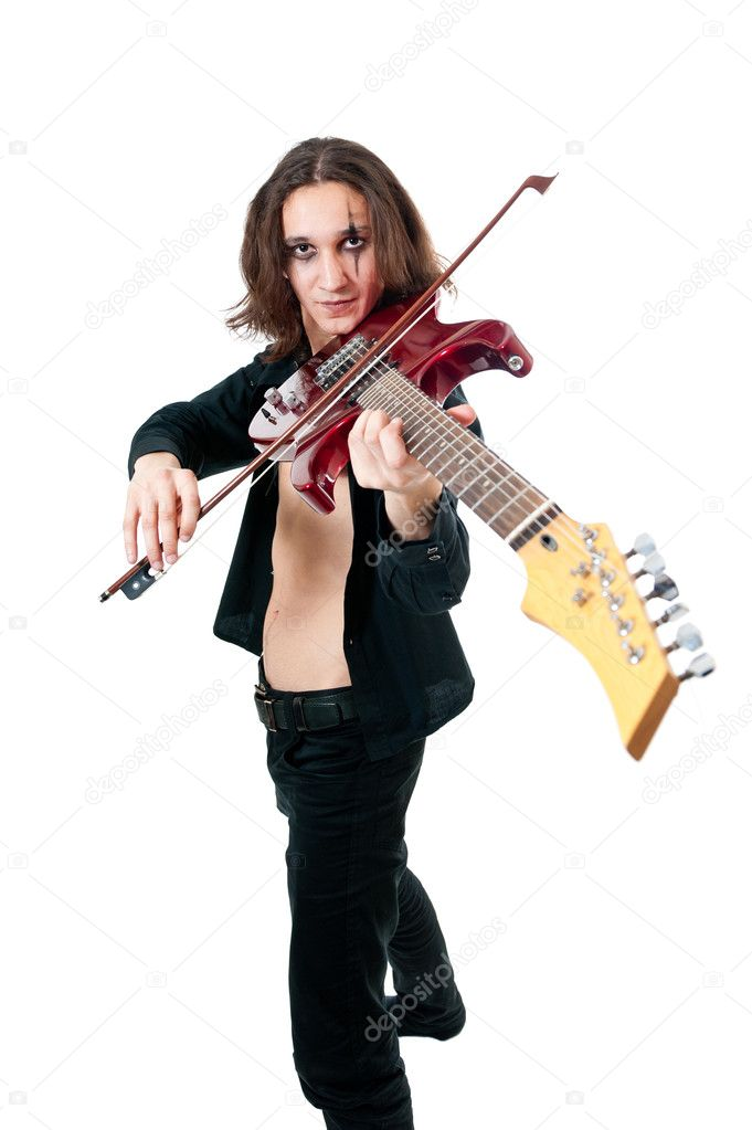 Young guitarist with red guitar on white background  Stock Photo #4738549